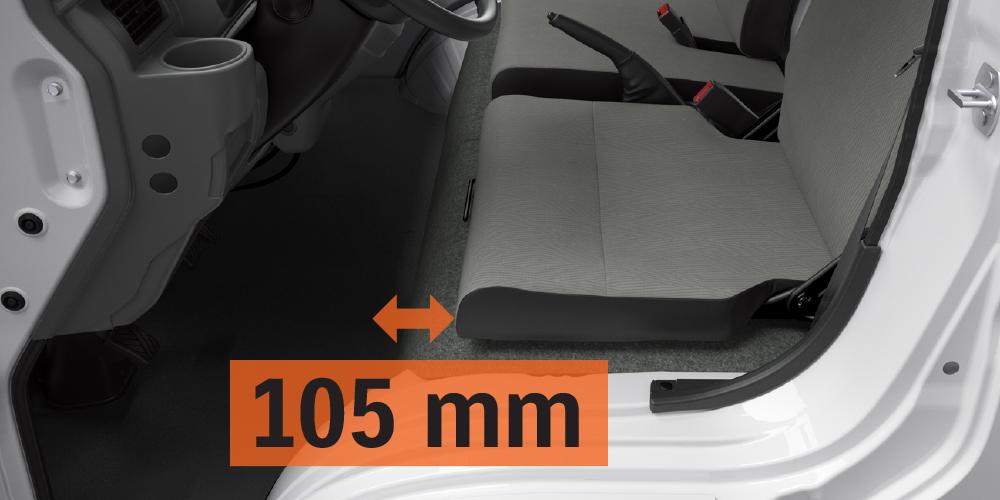 Ghế lái của Carry Pro 2020 chỉnh trượt cho khả năng thay đổi tầm chân sao cho phù hợp với vóc dáng của người dùng SUZUKI CARRY PRO