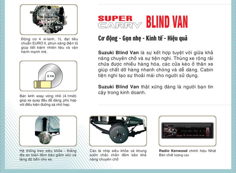 Suzuki Van Blind được trang bị động cơ mạnh mẽ, giúp tiết kiệm nhiên liệu hiệu quả