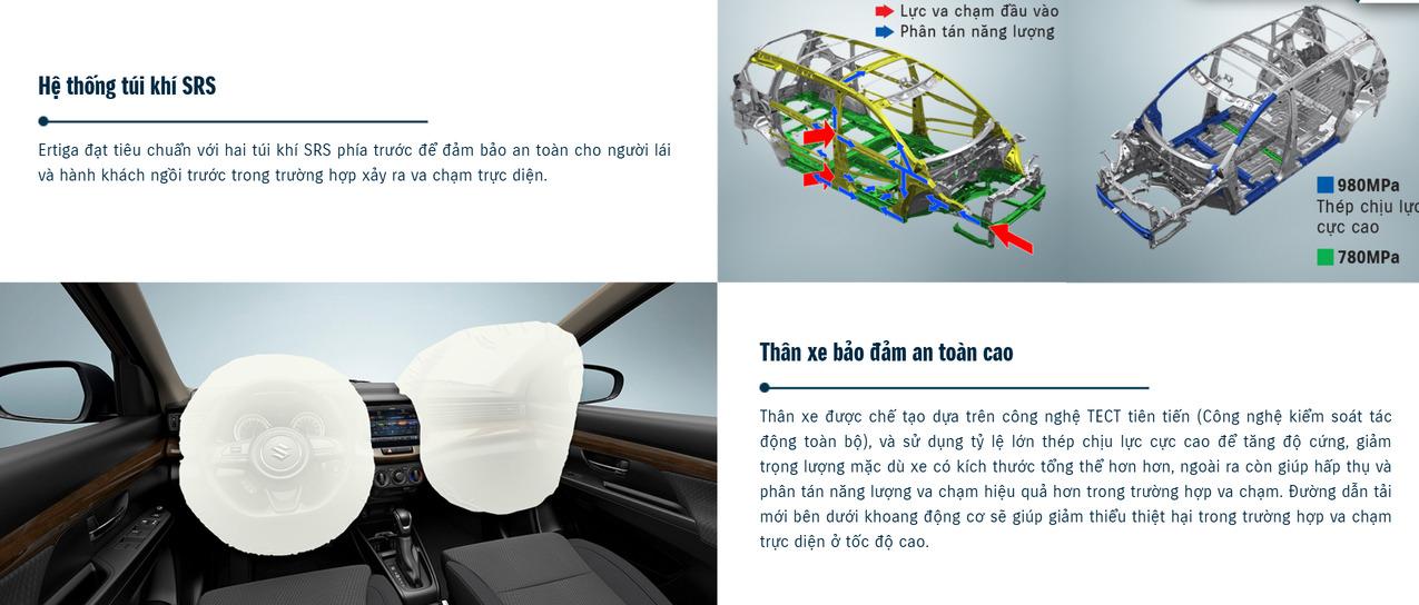 Hệ thống túi khí SRS và thân xe đảm bảo an toàn