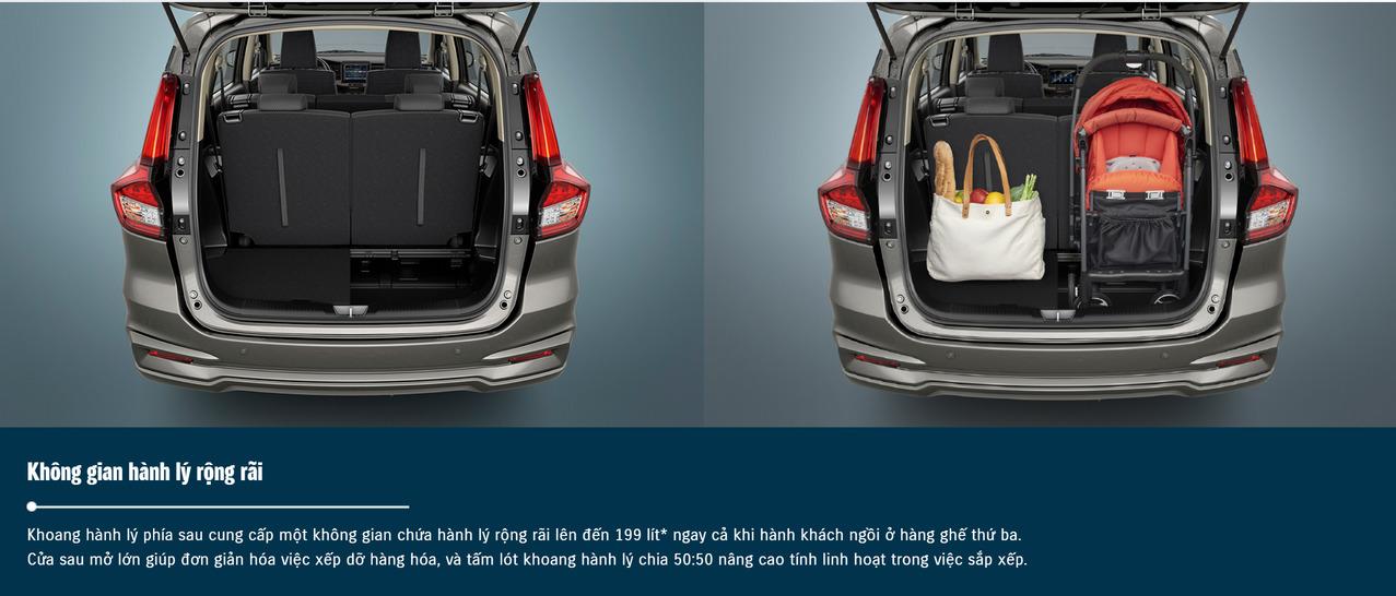 Khoang hành lý phía sau xe Suzuki Ertiga rộng rãi