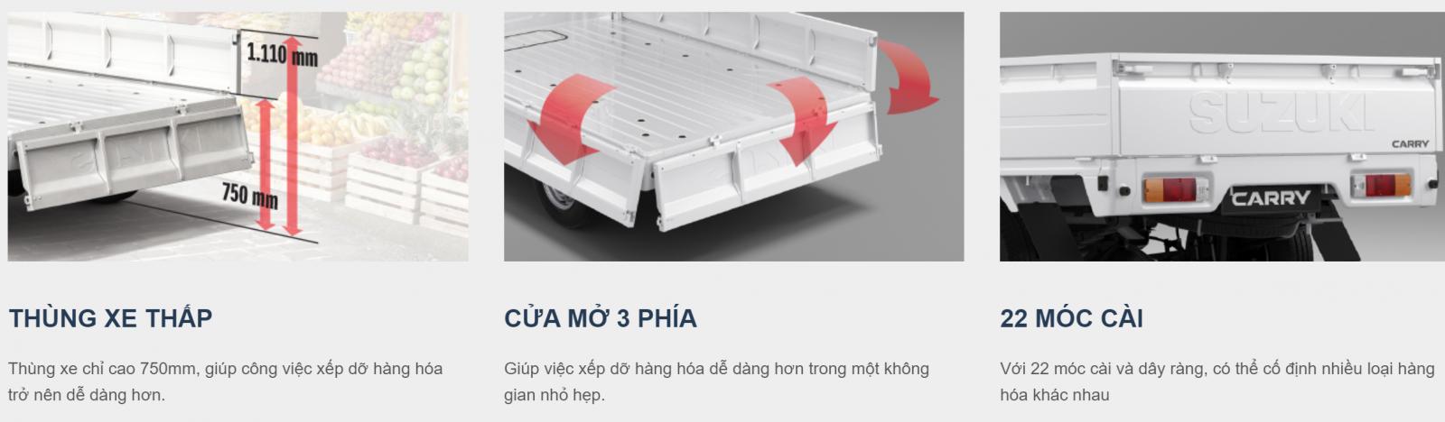 Carry Pro được trang bị 22 móc cài chắc chắn ở thùng xe, đảm bảo an toàn khi vận chuyển hàng hóa trên đường