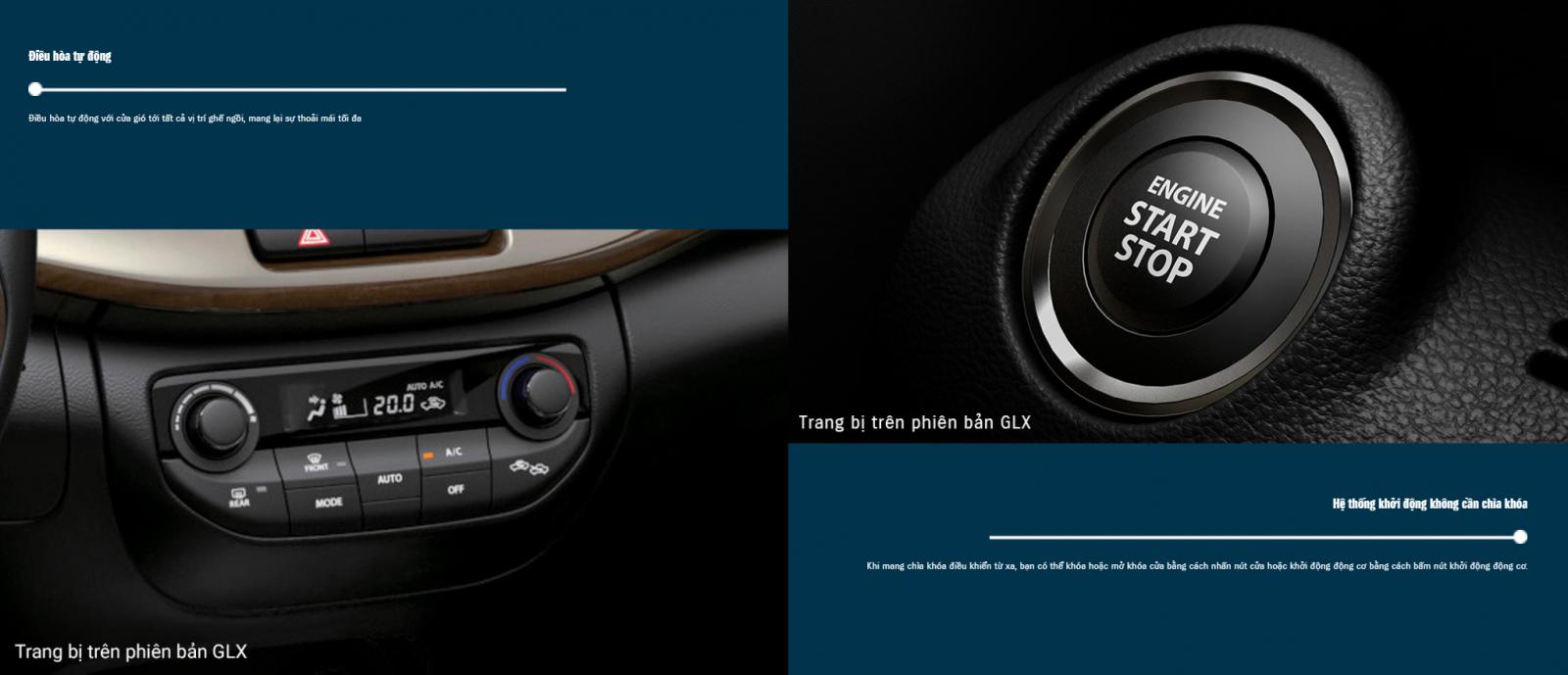 Xe ô tô Suzuki Ertiga được tích hợp điều hòa tự động và hệ thống khởi động xe không cần chìa khóa