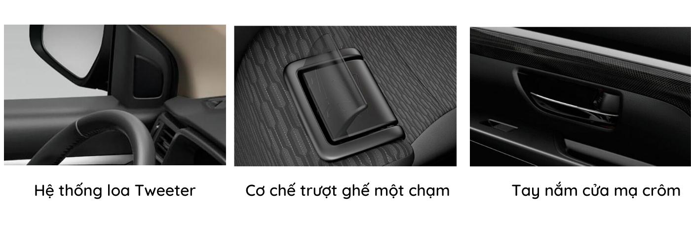 Suzuki X7 tiện ích với loa, cơ chế trượt ghế và tay nắm cửa mạ crom chắc chắn