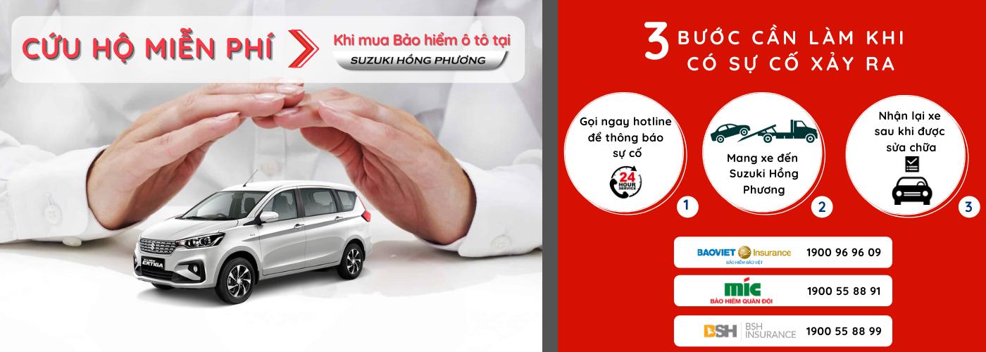 Khi mua kèm bảo hiểm ô tô tại Suzuki Hồng Phương khách hàng sẽ được cứu hộ miễn phí chỉ với 3 bước đơn giản