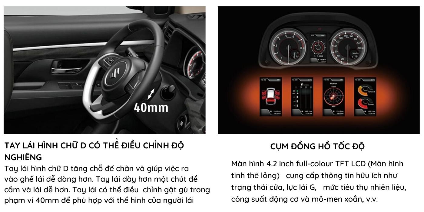 Tay lái có thể điều chỉnh độ nghiêng và cụm đồng hồ tốc độ NỘI THẤT SUZUKI XL7